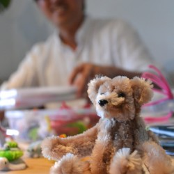 Custom teddy bear made from extra-wide pipe cleaners