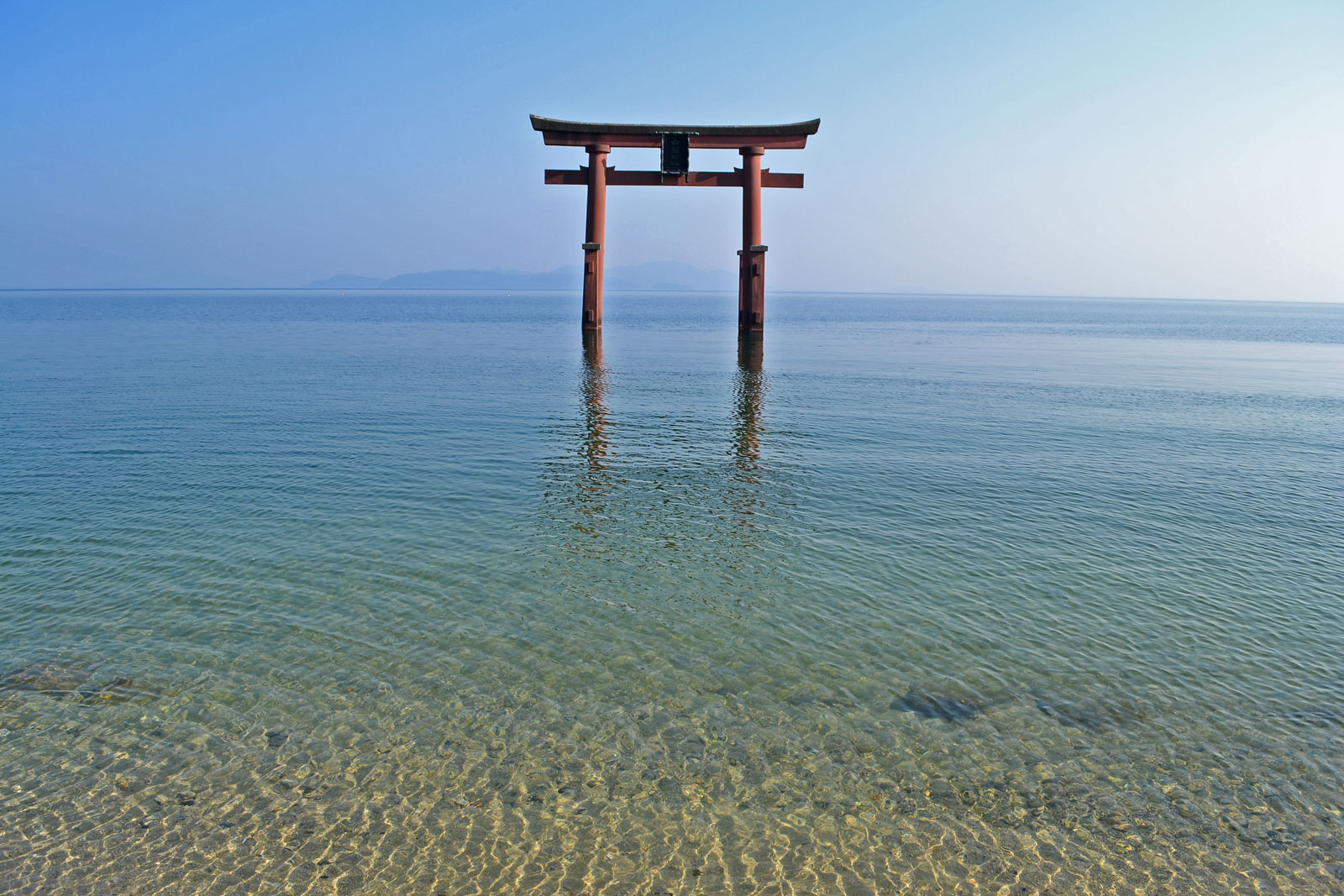 Shirahige Shrine Gate in Lake Biwa