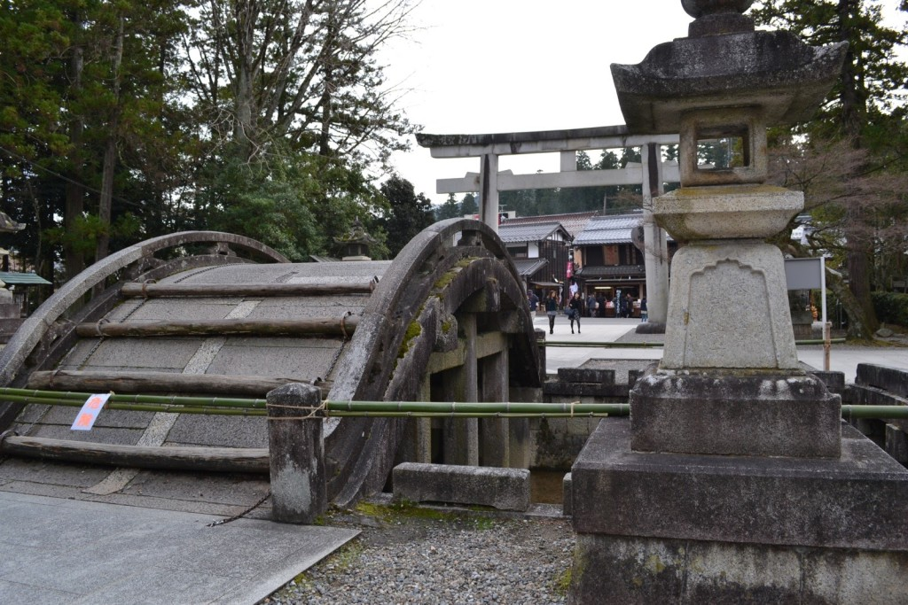 Old footbridge at the entrance of Taga Taisha